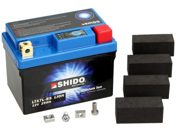 Shido Batterie LTX7L-BS Lithium, 12 V, 2,4 A, Lithium Ion, 113x70x131